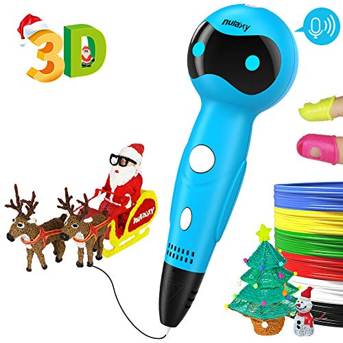Nulaxy 3D Pen, First Robot 3D Drawing Printing Printer Pen with Voice Prompts PLA Filament Refills Automatic Feeding, Best Birthday Holiday Christmas Gifts Toys to Inspire Kids Teens Creativity Blue