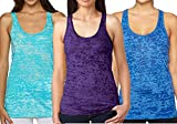 Epic MMA Gear Yoga Tops Activewear Workout Clothes Sports Racerback Tank Tops for Women (L, Light Blue/Purple/Dark Blue)