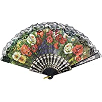 uxcell Plastic Ribs Cut Out Floral Print Summer Folding Hand Fan