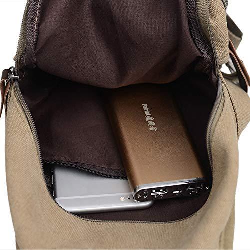 Chest Bag Home Mochila de Casual Lona Casual de para Hombres Bolsa Multifuncional Transpirable Deportes al Aire Libre Bolso Bandolera Hombro Mensajero Mochila (Caqui) 862be1
