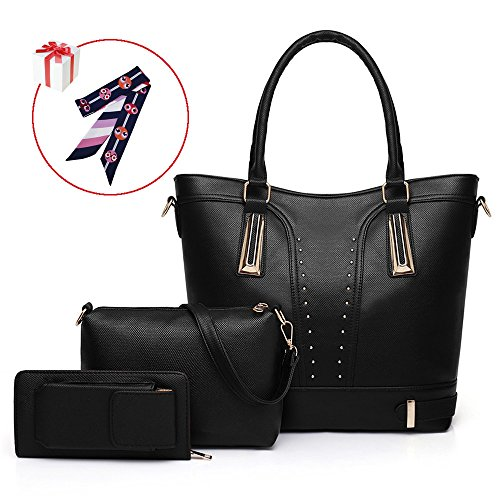 Belle Heure Women's big tote bag Shoulder Bag Purse Wallet 3pcs set Black