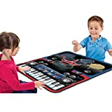 2-in-1 Functional Drum & Piano Foldable Music Mat with 5 Piece Drum, 2 Drum Sticks, 14 Demos, 24 Key Piano Keyboard with 8 Different Recordable Musical Instruments, Powerful Speakers with 3.5mm Aux Co