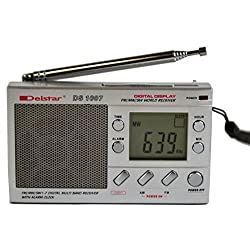 Delstar DS1007 Pocket-size 7-Band AM/FM Shortwave Radio, Silver