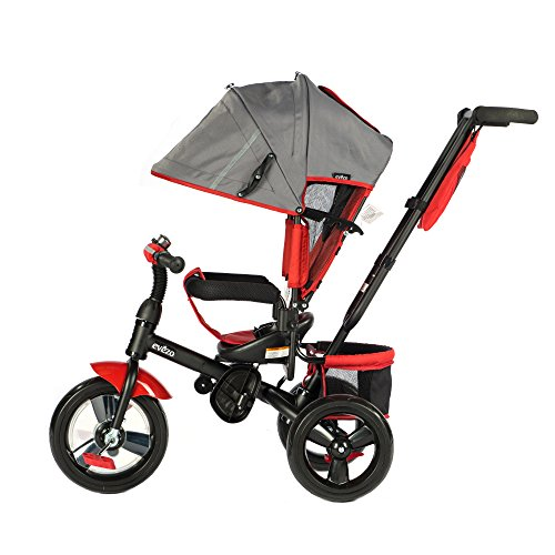 (Evezo 307A 4-in-1 Adult Push Tricycle for Kids, Stroller Trike, Reclining Seat, Ringing Bell, 5-Point Safety Harness, Full Canopy, Storage Bin (Crimson Red))