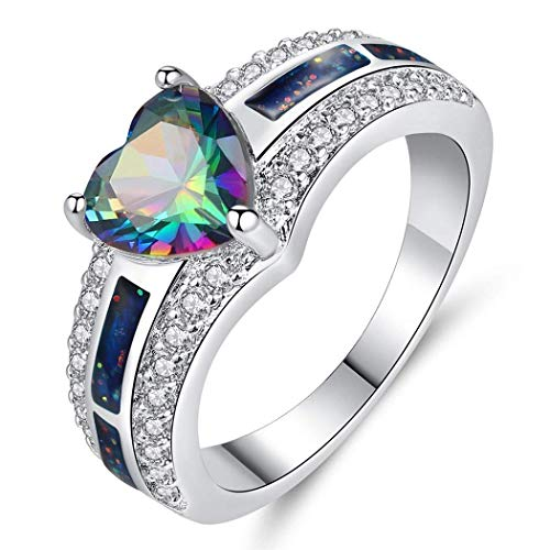 (Zippem Vintage 925 Sterling Silver Plated Halo CZ Heart Created Ruby Spinel&Topaz Love Wedding Promise Ring)