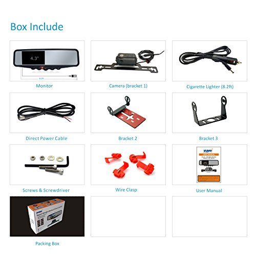 Wireless Backup Camera System, IP69K Waterproof Wireless License Plate Rear View Camera, Night Vision and 4.3'' Wireless Mirror Monitor for Cars, Trailer, RV, Pickup Trucks, Cargo Vans, etc. by yuwei (Image #6)