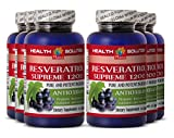 Red wine extract with resveratrol - RESVERATROL SUPREME 1200MG - support digestion (6 Bottles)