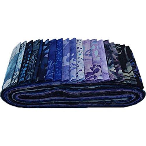 Bali Batiks Blue Hawaiian Bali Poppy 20 2.5-inch Strips Jelly Roll Hoffman (Hoffman Bali Batik Quilt Fabric)