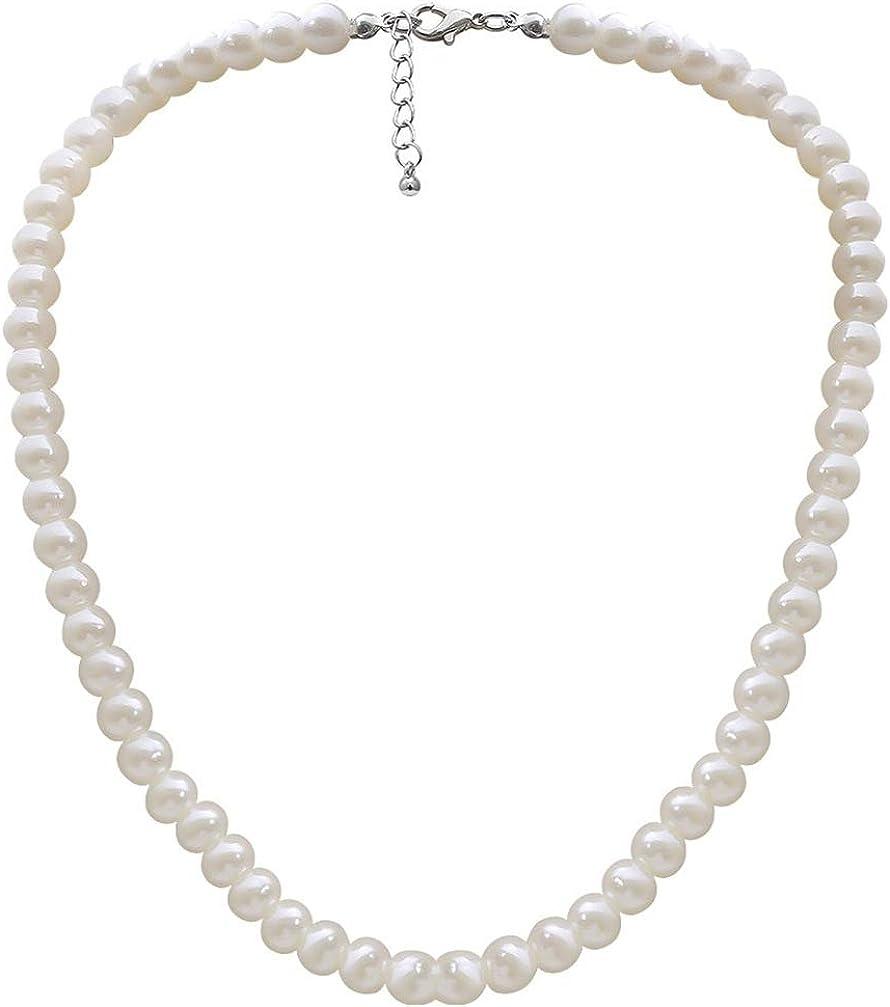 Happyyami Collar de Perlas de Imitación Redondo Collar de Una Sola Capa Joyería para Mujer Dama (Blanco)