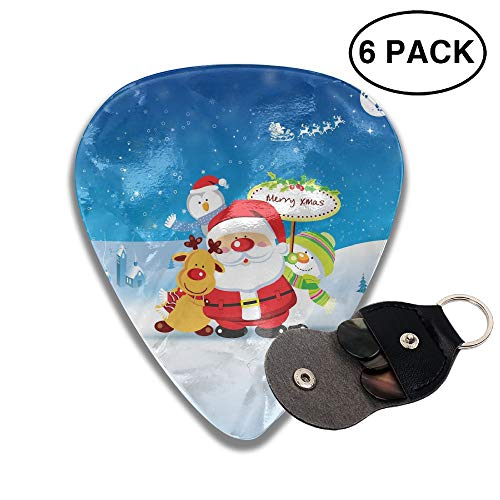 Cute Santa Claus Reindeer Snowman Penguins Small Medium Large 0.46 0.71 0.96mm Mini Flex Assortment Celluloid Top Classic 351 Rock Electric Acoustic Guitar Pick Accessories Variety Pack ()