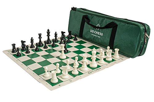 The US Chess Federation - Supreme Triple Weighted Chess Set Combo - Green