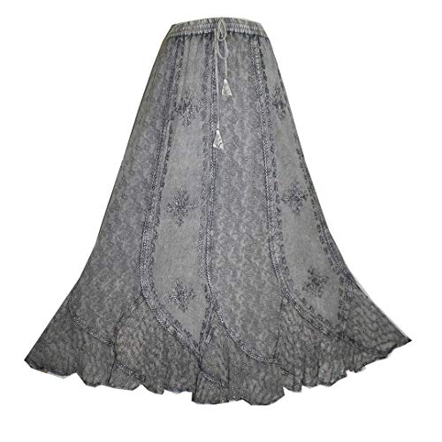 711 SK Gypsy Medieval Renaissance Vintage Full Skirt [2X/3X; Silver] (Peasant Embroidered Skirt)