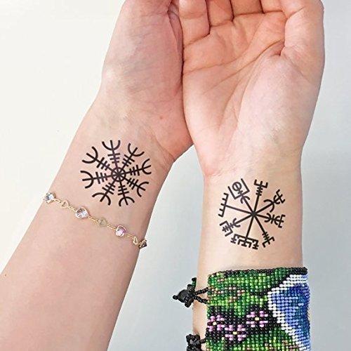 Vichingo - Aegishjalmur - Vegvisir - Tatuaggio temporaneo (set di 2)