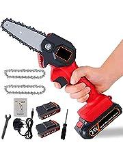Mini-elsåg, sladdlös handmotorsåg med laddare och 2 batterier, elektrisk skär-såg – levereras med tre kedjor, justerbar skärhastighet, för trä- och metallskärning (röd)