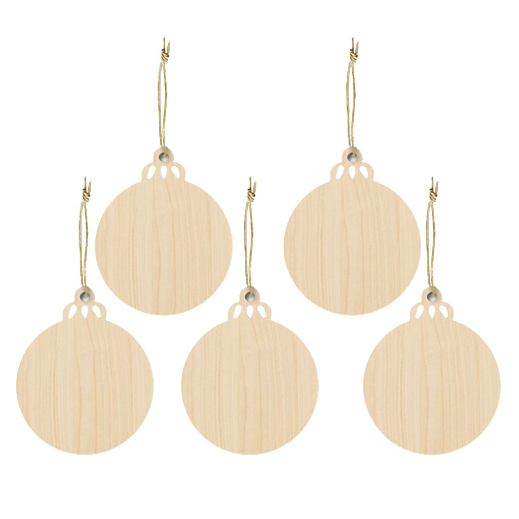 MonkeyJack 5 Pieces Wood Christmas Tree Kids Crafts Hanging Ornament with String for Xmas Decoration