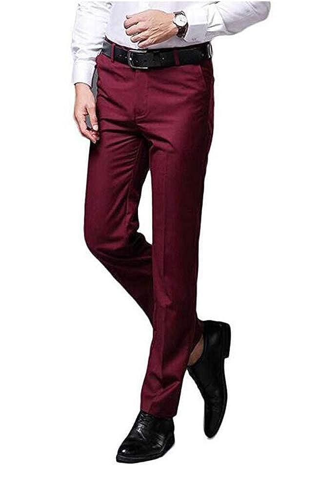 Yulain Mens Classic Dress Pants Flat Front Suit Pants Wrinkle-Free Casual Pants Trousers