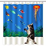 Clear Shower Curtain with Fish Design Wimaha Fabric Shower Curtain, Cat Wanting to Eat Fish, Waterproof Mildew Resistant 100% Fabric Polyester Shower Curtain, Machine Washable, 72