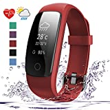 007plus Fitness Tracker, D107Plus Heart Rate Monitor Fitness Smart Watch Activity Tracker with Sleep Monitor IP67 Waterproof Pedometer Smart Wristband (red)