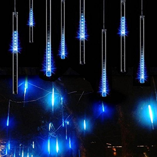 Adecorty Falling Rain Lights Meteor Shower Lights Christmas Lights 30cm 8 Tube 144 LEDs, Falling Rain Drop Icicle String Lights for Christmas Trees Halloween Decoration Holiday Wedding (Blue)]()