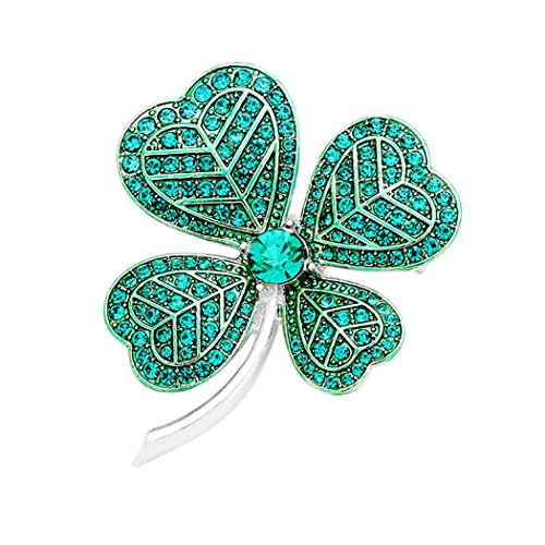 - Rosemarie Collections Women's Lucky Irish Four Leaf Clover Pin Brooch (Silver Tone)