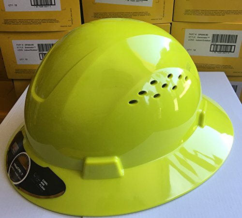 HDPE Lime Full Brim Hard Hat with Fas-trac Suspension by True