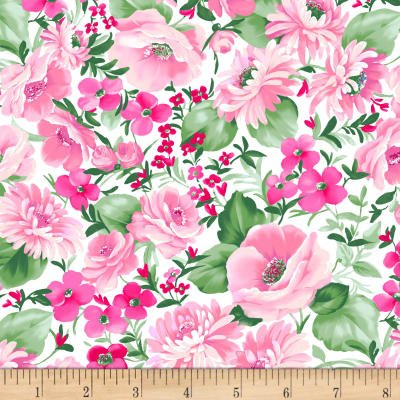 Chelsea Floral Cotton Fabric by (Clothworks Cotton)