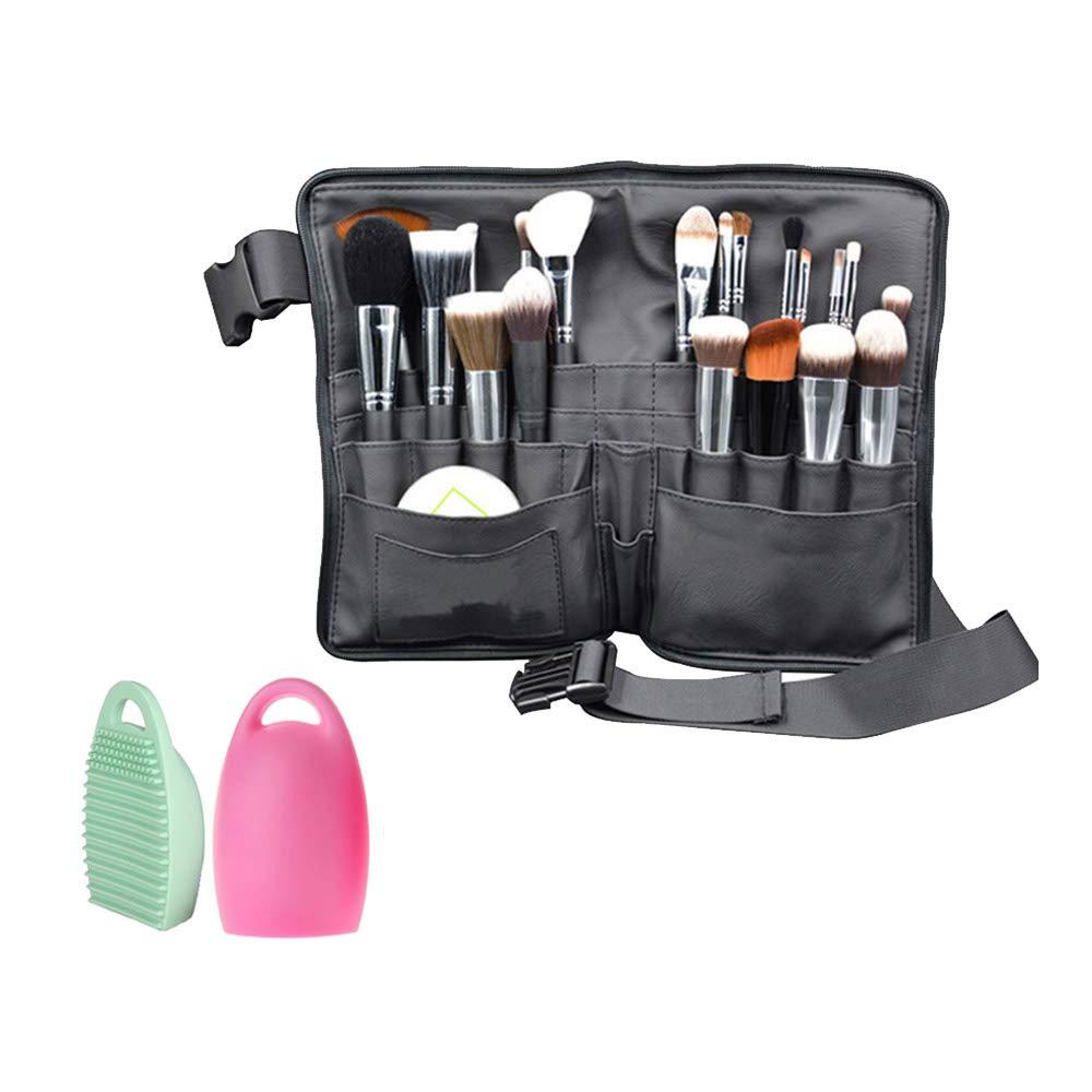 WasonD 32 Pockets Cosmetic Makeup Brush Organizer Belt Bag with Artist Strap + 2 Washing Brush Scrubber