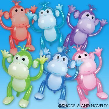 Monkey 24 Inflatable - 1 Dozen Colorful Inflatable Monkeys (24) / Party Favor/ Circus / Birthday /Decor / Prize Giveaway by RIN