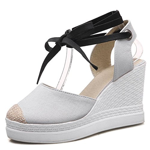 Strap Sandals 9cm gray Wedges Prom Party DecoStain Leisure Ankle Sandals Buckle Women's Platform Hqnntw4Tx