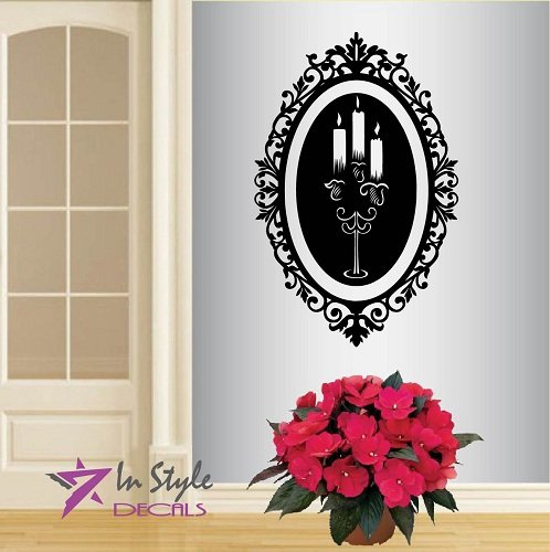(Wall Vinyl Decal Home Decor Art Sticker Candlestick in Vintage Frame Baroque Bedroom Living Room Removable Stylish Mural Unique Design)