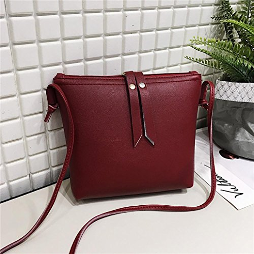 Funie Shoulder Bag Leatherette Woman (large Size, With Tassels Leatherette), White, 17cm X 22cm X 4.5cm / 6.69 X 8.66 X 1.77 Red
