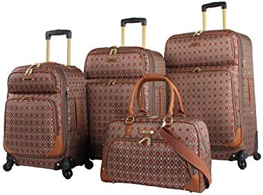 b177333fdd2e Rosetti Lighten Up Luggage Set 4 Piece Expandable Softside Suitcase With  Spinner Wheels (Lighten Up Red)