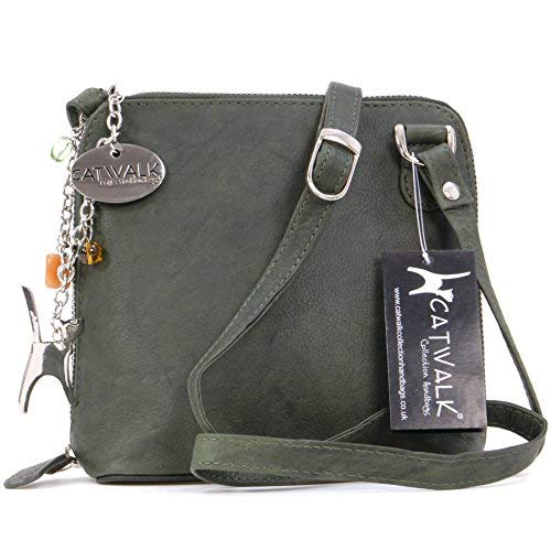 Catwalk Collection Cross Body Leather Green Collection Bag Lena Cross Catwalk Bag Lena Leather Green Body ZwdBwaq