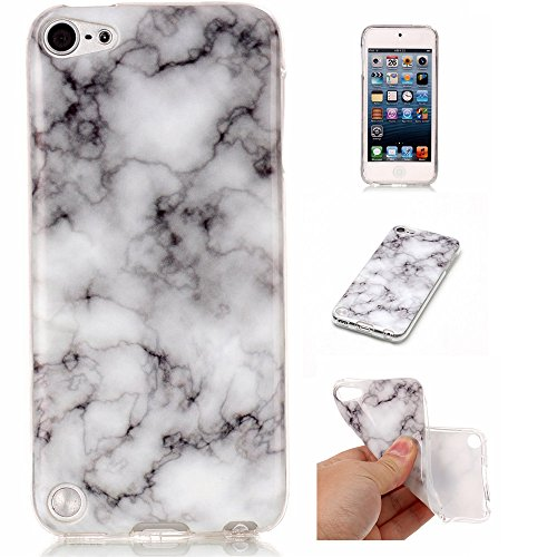 X [Marble Pattern] Slim Shockproof Flexible TPU Soft Rubber Silicone Skin Cover for iPod Touch 6 / iPod Touch 5,Smoke White ()