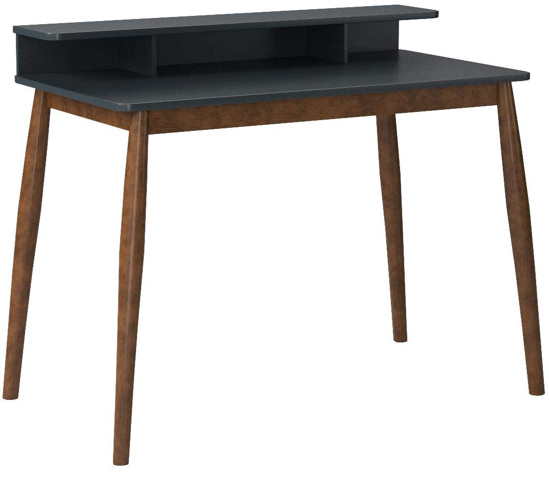 Roundhill Furniture CD05 Roskilde Storage Wood Office Desk, Gray/Blue by Roundhill Furniture