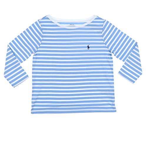Polo Ralph Lauren Womens 3/4 Sleeve Boat Neck T-Shirt (X-Large, Blue Stripes)