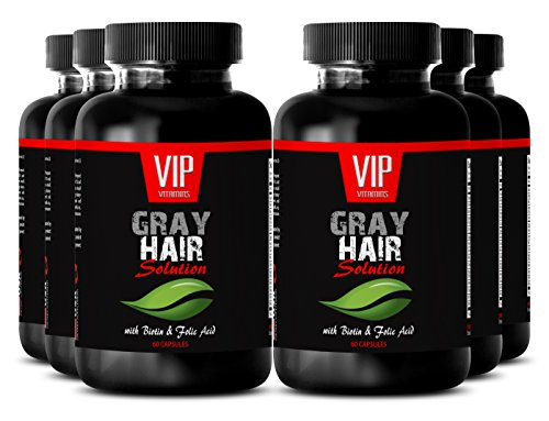L-Tyrosine Capsules - Gray Hair Solution - Hair vitamins for thinning hair (6 Bottles 360 capsules) by VIP VITAMINS