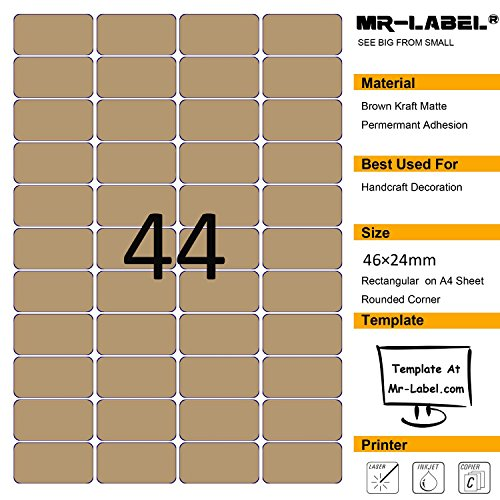 Mr-Label® 44 Pcs Blank Kraft Labels –Self Adhesive Stickers for Gift Decoration|Hand craft| Finishing Touch (Size:24*46mm) (25 Sheets/1100 Labels)