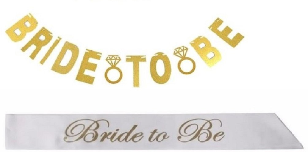 Decor /& Decorations by Jolly Jon /® Bridal Shower /& Bachelorette Party Set Easy to Assemble Glitter Garland White Satin Sash to Wear Bride to Be Gold Banner