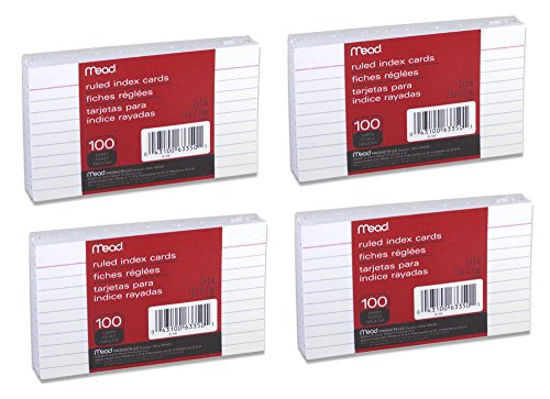 Mead Index Cards, Ruled, 3 x 5 Inch, White, 100 Per Pack, 4 PACK