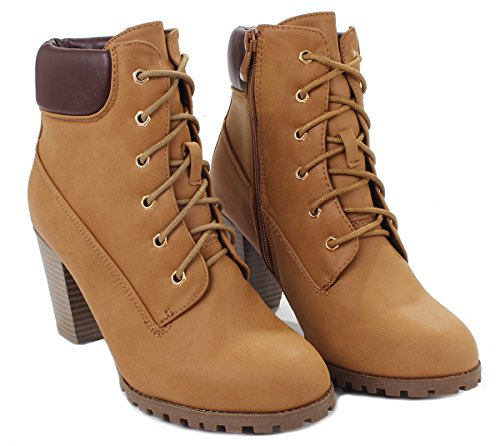 Combat Tan Up Collar Lace Women Military Heel Chunky side Booties Ankle Zip Padded fB5qBAWvw