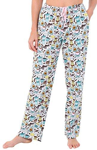Womens Flannel Pajama Pants, Long Cotton Pj Bottoms, 2X Coffee and Cake (A0703Q892X) ()