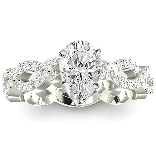 0.75 Ctw 14K White Gold Eternity Love Twisting Split Shank Pear Cut Diamond Engagement Ring (0.5 Ct F Color SI3 Clarity Center Stone) ()