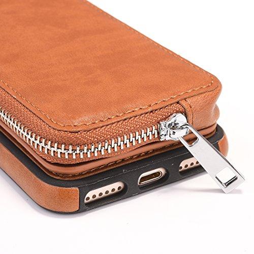 scuro Marrone Per FeiNianJSh con iphone cerniera pelle nbsp;e di Blu con TPU portafoglio 8 rotazione nbsp;Custodia 7 rimovibile a protettiva borsa RwwHq