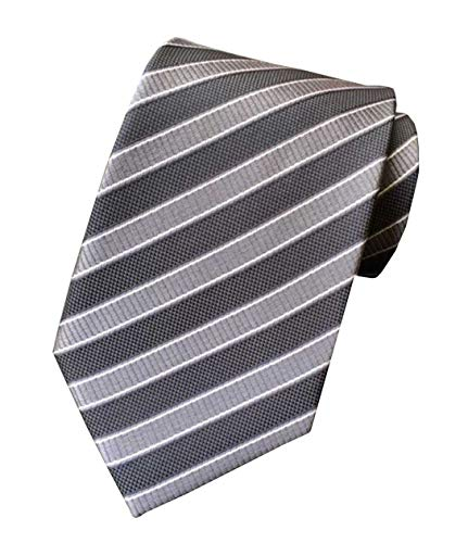 Grey Striped Tie - MENDENG Classic Striped Blue Yellow Jacquard Woven 100% Silk Men's Tie Necktie
