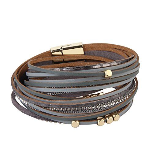 TASBERN Women Leather Wrap Bracelet in Goldplated Metallic Crescents and Crystal Cuff Jewelry for Ladies Girls (Grey Leather Cuff Bracelets)