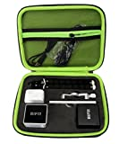 Customized Protective Case for RIF6 CUBE Pico Video Projector, Secured blocks for RIF Cube Projector, speaker, tripod, mount and cable, zipper mesh pocket for other accessories (Black+Green)