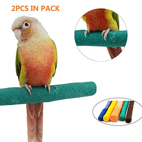 "Borangs Parrot Perches Bird Stand Natural Wood Quartz Sand Branches Nail Perch for Small Medium Birds Cockatiel Cockatiel Parakeet Conure Cage Accessory Pack of 2 (Upgraded New Version 20cm/8"")"