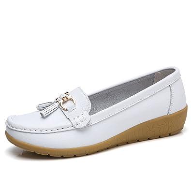 jrenok Zapatos de Primavera Mujer Mocassins Piel Suave Casual Hebilla Confort Zapatos Planas Loafers Antideslizante 35 - 41: Amazon.es: Zapatos y ...