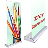Deluxe 33'x79' Retractable Rollup Banner Stand Trade Show Display Sign Holder Exhibition Promotion Aluminum Structure